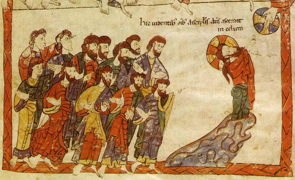 Ascensione del Signore, Bibbia di Avila – Madrid Biblioteca Nacional – 1150ca dans immagini sacre ascensione-1150ca-bibbia-di-avila-madrid-bibl-nac