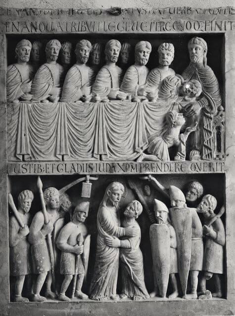 Maestro Guglielmo, Ultima Cena : Cattura di Cristo (1199 circa) – Cripta della Cattedrale di San Zeno (Pistoia).jpg