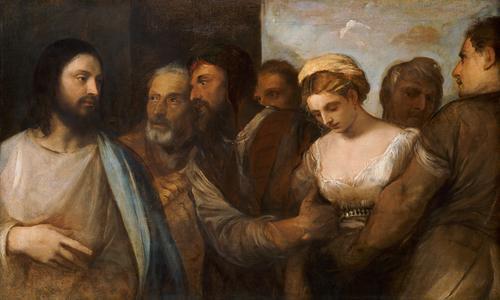Tiziano Cristo e  l'adultera 1512:1515